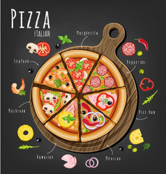 Pizza assorted vector