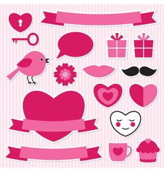 Valentines stickers set vector