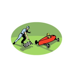 Soap box derby racing winning finish line vector