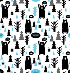 Seamless pattern with forest and bears background vector