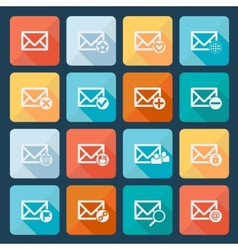 Set of sixteen mail icons for web vector