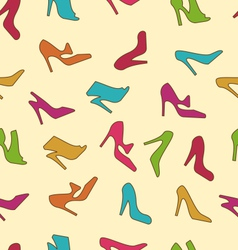 Seamless texture with colorful women footwear vector