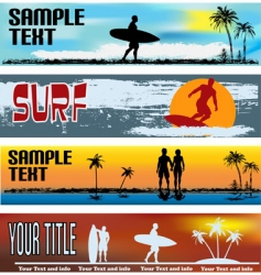 Tropical beach web banner templates vector