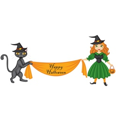 Witch and cat with banner vector