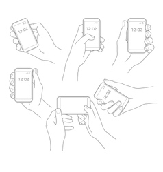 Hand with phone set vector