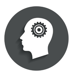 Head with gear sign icon male human head vector