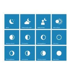 Moon lunar cycle icons on blue background vector