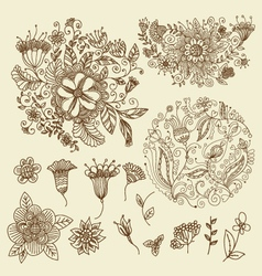 Floral doodles set vector