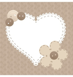 Vintage frame with love heart beautiful can vector