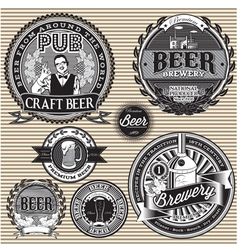 Set retro icons to topic beer vector
