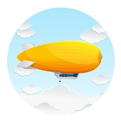 Yellow dirigible balloon and clouds vector