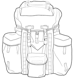 Military or hiking backpack outline vector
