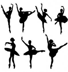 Ballerina silhouettes vector