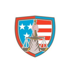 Hand holding scales of justice shield retro vector