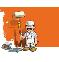 Handyman wall painter white uniform vector
