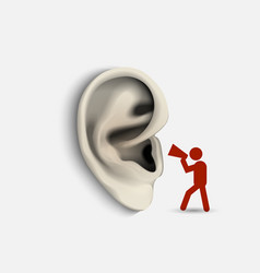 Ear and icon man with megaphone vector