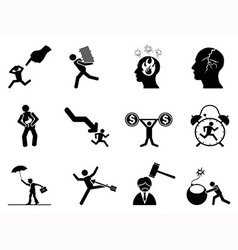 Businessman working stressed icon vector