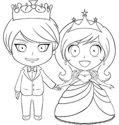 Prince and princess coloring page 1 vector