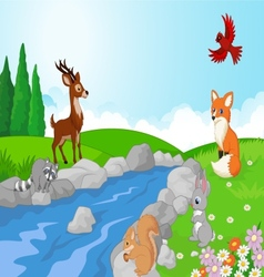 Nature landscape background with wild animals cart vector