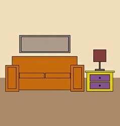 Cartoon sofa and draws and lamp vector