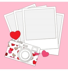 Love photo camera background vector