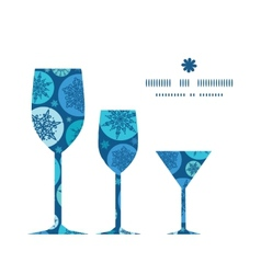 Round snowflakes three wine glasses silhouettes vector