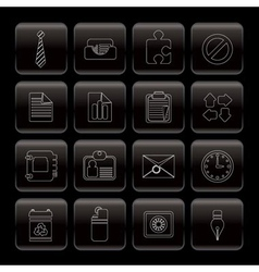 Line business and office icons vector