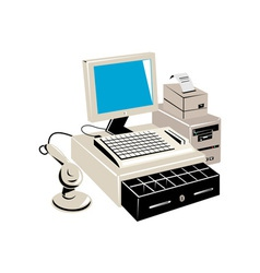Computer cash register vector