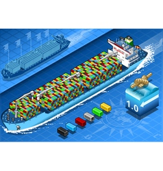 Isometric cargo ship with containers in navigation vector