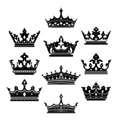 Black crowns set for heraldry design vector