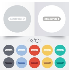 Register with arrow sign icon membership symbol vector
