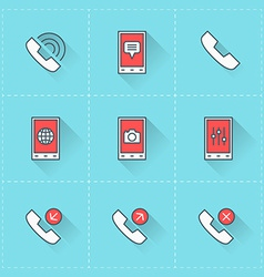 Mobile phone icons icon set in flat design style vector