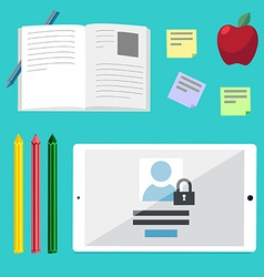 Flat concepts for education online tutorials rese vector