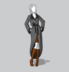 Woman in knitted coat and long boots vector
