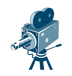 Vintage video movie camera retro vector