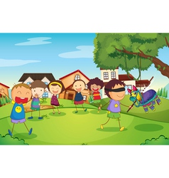 Kids playing in nature vector
