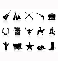 Wild west cowboys icons set vector