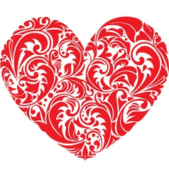 Red ornamental floral heart on white background vector