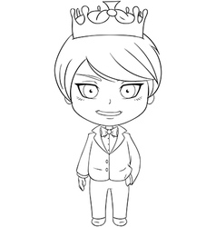 Prince coloring page 1 vector