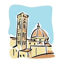 Florence the duomo and giottos bell tower vector