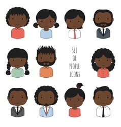 Set of colorful african-american people icons vector