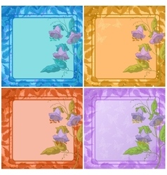 Flowers leaves frame and butterfly vector