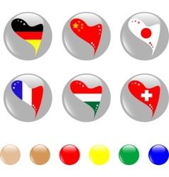 Al heart flags icon shiny button  vector vector