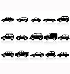 Car silhouette icons vector