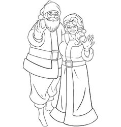 Santa and mrs claus waving hands for christmas vector