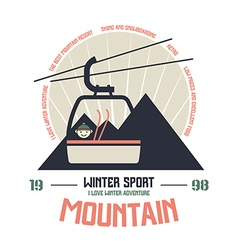 Mountain winter sport emblem vector