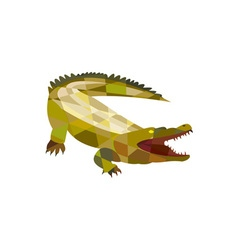 Alligator crocodile gaping mouth low polygon vector