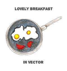 Breakfast by color pencils vector