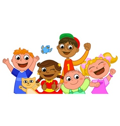 Five happy kids smiling vector