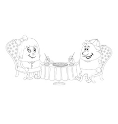 Children near table isolated contour vector